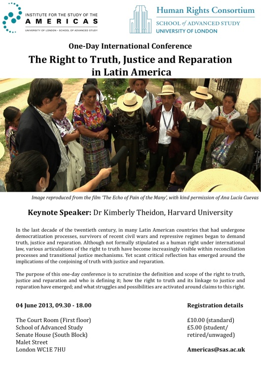 The Right to Truth, Justice and Reparation poster