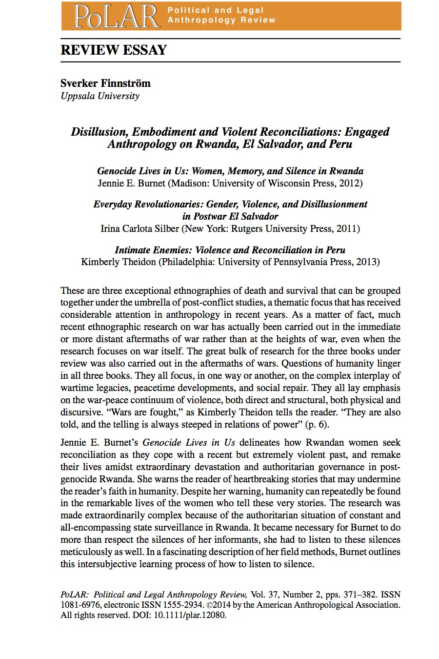intimate enemies violence and reconciliation in kimberly polar12080